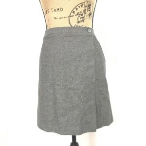 The Limited Wrap Skirt Grey Wool Pockets